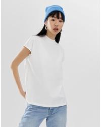 weißes T-Shirt mit einem Rundhalsausschnitt von Weekday