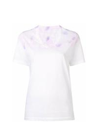 weißes Mit Batikmuster T-Shirt mit einem V-Ausschnitt von MM6 MAISON MARGIELA