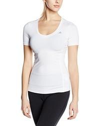 weißes T-Shirt mit einem V-Ausschnitt von adidas