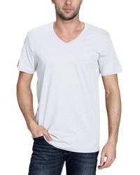 weißes T-Shirt mit einem V-Ausschnitt von BLEND