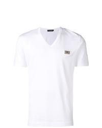 weißes T-Shirt mit einem V-Ausschnitt von Dolce & Gabbana