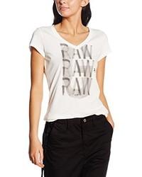 weißes T-Shirt mit einem V-Ausschnitt von G-Star Raw