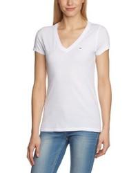 weißes T-Shirt mit einem V-Ausschnitt von Hilfiger Denim