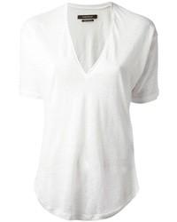 weißes T-Shirt mit einem V-Ausschnitt von Isabel Marant