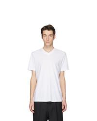 weißes T-Shirt mit einem V-Ausschnitt von Jil Sander