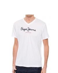 weißes T-Shirt mit einem V-Ausschnitt von Pepe Jeans