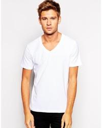 weißes T-Shirt mit einem V-Ausschnitt von Selected