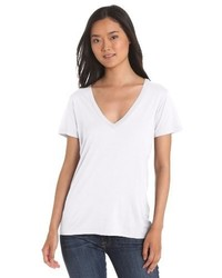 weißes T-Shirt mit einem V-Ausschnitt von Splendid