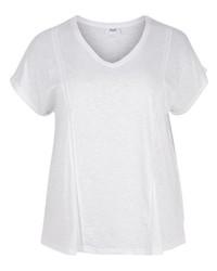 weißes T-Shirt mit einem V-Ausschnitt von Zizzi
