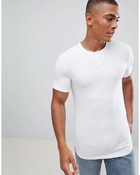 weißes T-shirt mit einer Knopfleiste von ASOS DESIGN