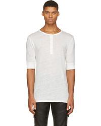 weißes T-shirt mit einer Knopfleiste von Balmain