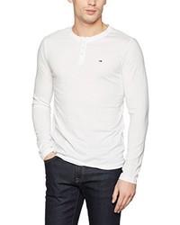 weißes T-shirt mit einer Knopfleiste von Hilfiger Denim