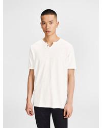 weißes T-shirt mit einer Knopfleiste von Jack & Jones