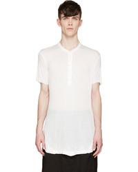 weißes T-shirt mit einer Knopfleiste von Julius
