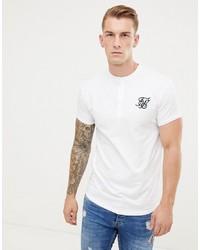 weißes T-shirt mit einer Knopfleiste von Siksilk