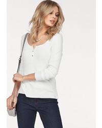 weißes T-shirt mit einer Knopfleiste von Vero Moda