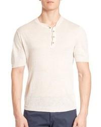 Weißes T-shirt mit Knopfleiste von Eleventy