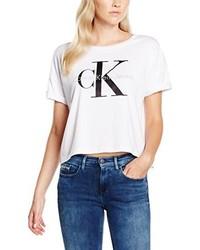 weißes T-Shirt mit einem Rundhalsausschnitt von Calvin Klein Jeans