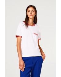 weißes T-Shirt mit einem Rundhalsausschnitt von edc by Esprit