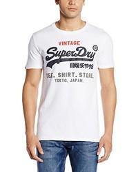 weißes T-Shirt mit einem Rundhalsausschnitt von Superdry