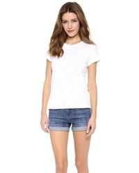 weißes T-Shirt mit einem Rundhalsausschnitt von Vince