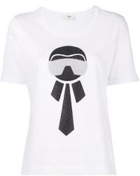 weißes T-shirt von Fendi