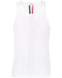 weißes Trägershirt aus Netzstoff von Thom Browne