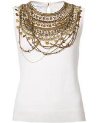weißes Trägershirt von Oscar de la Renta