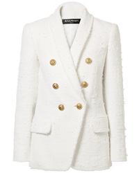 weißes Tweed Zweireiher-Sakko von Balmain