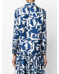 weißes und blaues bedrucktes Businesshemd von La Doublej