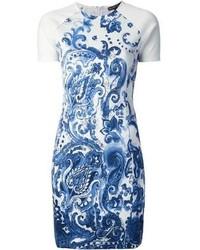 weißes und blaues bedrucktes Etuikleid von Ralph Lauren