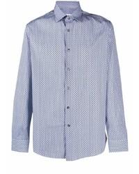 weißes und blaues bedrucktes Langarmhemd von Salvatore Ferragamo