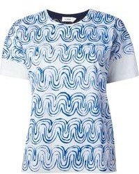 weißes und blaues bedrucktes T-Shirt mit einem Rundhalsausschnitt
