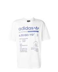 weißes und blaues bedrucktes T-Shirt mit einem Rundhalsausschnitt von adidas