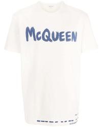 weißes und blaues bedrucktes T-Shirt mit einem Rundhalsausschnitt von Alexander McQueen