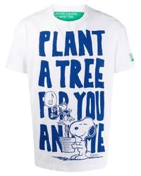 weißes und blaues bedrucktes T-Shirt mit einem Rundhalsausschnitt von Benetton