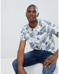 weißes und blaues bedrucktes T-Shirt mit einem Rundhalsausschnitt von Burton Menswear