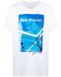 weißes und blaues bedrucktes T-Shirt mit einem Rundhalsausschnitt von Greg Lauren