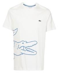 weißes und blaues bedrucktes T-Shirt mit einem Rundhalsausschnitt von Lacoste