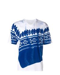 weißes und blaues bedrucktes T-Shirt mit einem Rundhalsausschnitt von Maison Margiela