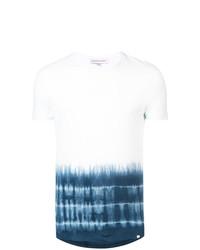 weißes und blaues bedrucktes T-Shirt mit einem Rundhalsausschnitt von Orlebar Brown