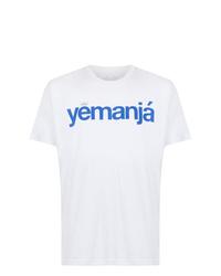 weißes und blaues bedrucktes T-Shirt mit einem Rundhalsausschnitt von OSKLEN