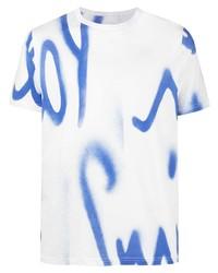 weißes und blaues bedrucktes T-Shirt mit einem Rundhalsausschnitt von Paul Smith
