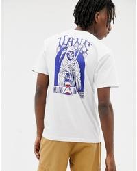 weißes und blaues bedrucktes T-Shirt mit einem Rundhalsausschnitt von Vans