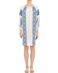 Weißes und blaues besticktes Folklore Kleid kombinieren (6
