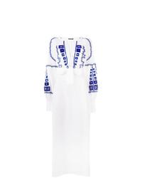 weißes und blaues besticktes Folklore Kleid von Wandering