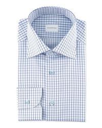 weißes und blaues Businesshemd mit Karomuster