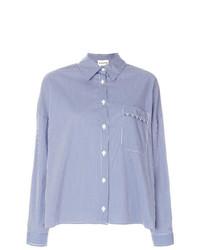 weißes und blaues Businesshemd mit Schottenmuster von Semicouture