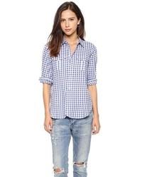 weißes und blaues Businesshemd mit Vichy-Muster von Madewell