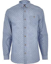 weißes und blaues gepunktetes Chambray Langarmhemd